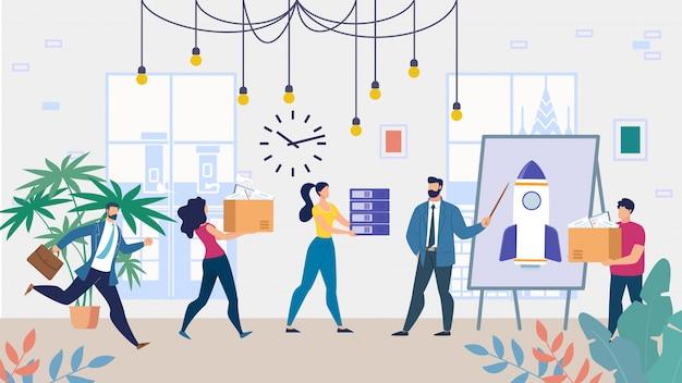 Equipo de negocios de dibujos animados trabajando en proyecto de inicio
