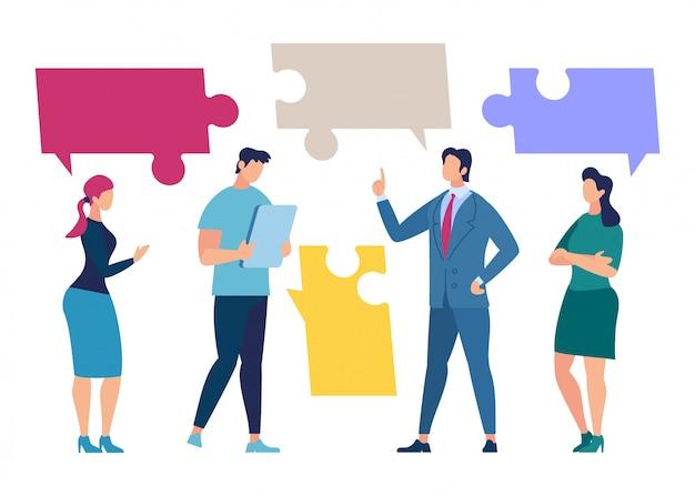 Equipo de negocios discusión, socios concepto de negociación