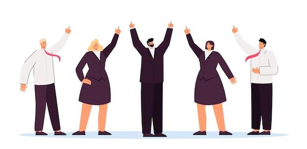 Equipo de negocios y ejecutivo mostrando dirección ascendente. ilustración plana