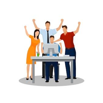 Equipo de negocios exitoso celebrando un triunfo con los brazos arriba. ilustración