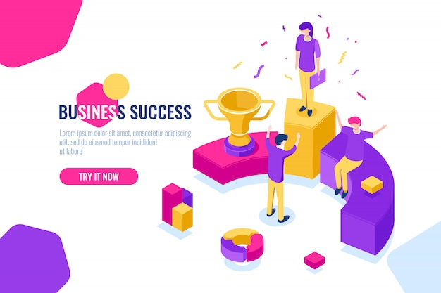 Equipo de negocios exitoso, trabajo isométrico, personas logran éxito, triunfo.