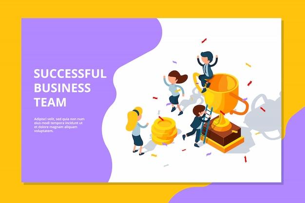 Equipo de negocios exitoso. trofeo para el premio de destino profesional para empresarios de premios grupales que celebran el concepto