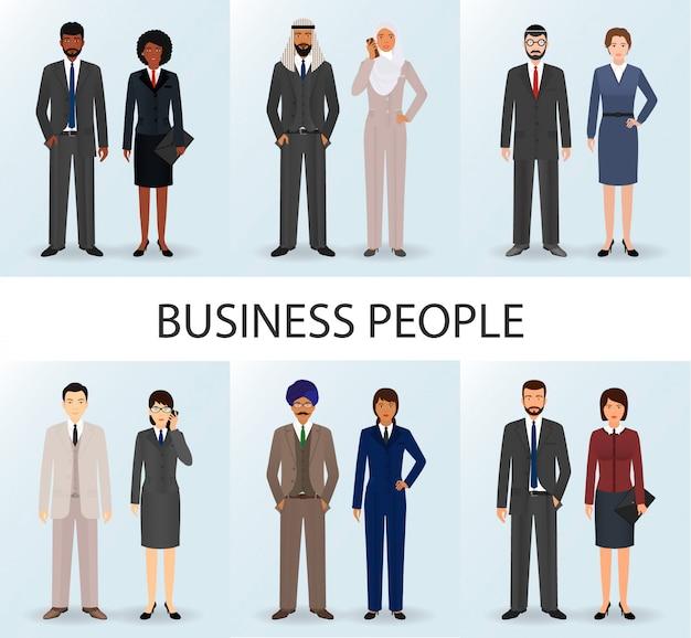 Equipo de negocios internacionales. conjunto de parejas empleados de oficina.