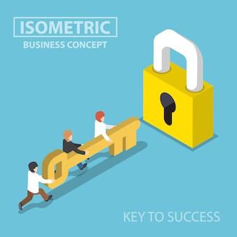 Equipo de negocios isométrico con llave de oro para desbloquear la cerradura