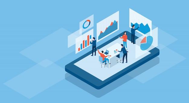 Equipo de negocios isométrico trabajando concepto en línea y concepto de tablero de gráfico de análisis de equipo de inversión de finanzas comerciales