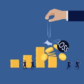Equipo de negocios obtener pérdida financiera.