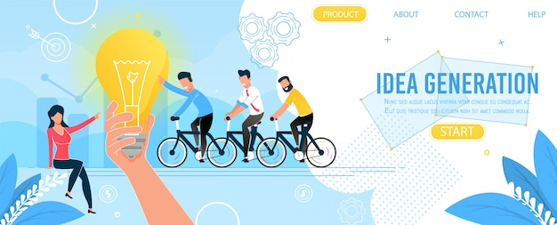 Equipo de negocios y página de inicio de generación de ideas