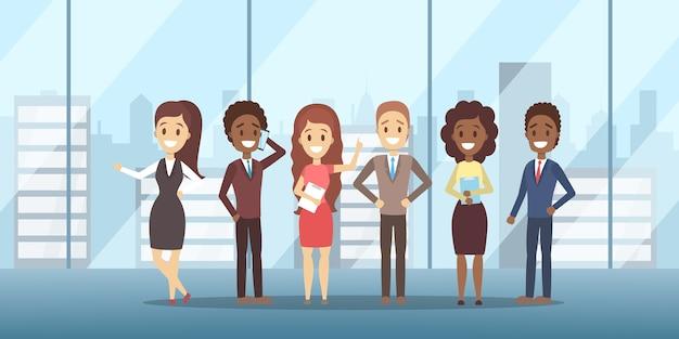 Equipo de negocios de pie en trajes y ropa formal. las personas trabajan juntas en grupo. idea de trabajo en equipo y colega. ilustración vectorial plana