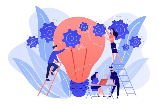 Equipo de negocios poniendo engranajes en bombilla grande. ingeniería de nuevas ideas, innovación de modelos de negocio y concepto de pensamiento de diseño sobre fondo blanco.