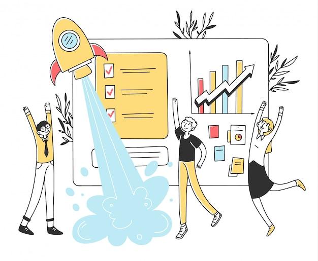 Equipo de negocios que lanza la ilustración de inicio