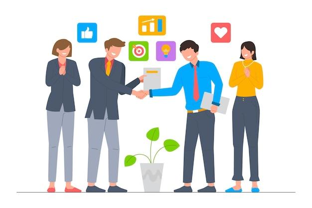 Equipo de negocios que trata la ilustración de vector de acuerdo de contrato