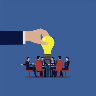 Equipo de negocios reunión busca nueva idea. ilustración