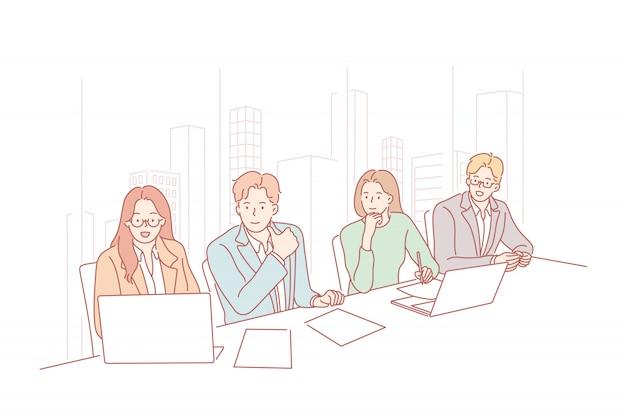 Equipo de negocios, reunión, presentación, hora, audición, concepto de asociación.