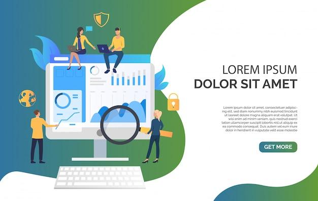Equipo de negocios y revisión en la ilustración del monitor