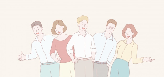 Equipo de negocios sonriente divertido hombres y mujeres de negocios
