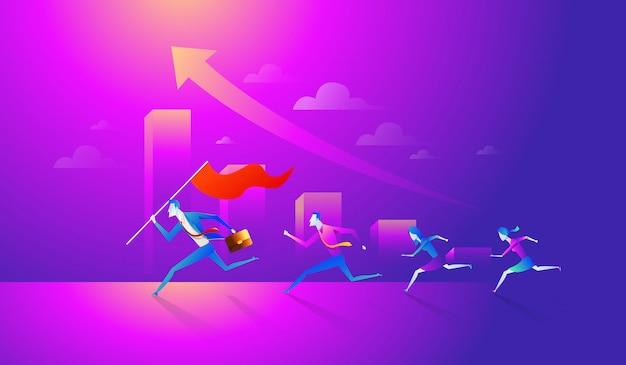 Equipo de negocios sosteniendo la bandera y corriendo hacia el éxito