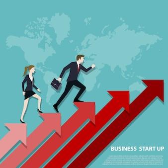 Equipo de negocios sube las escaleras hasta el punto de éxito