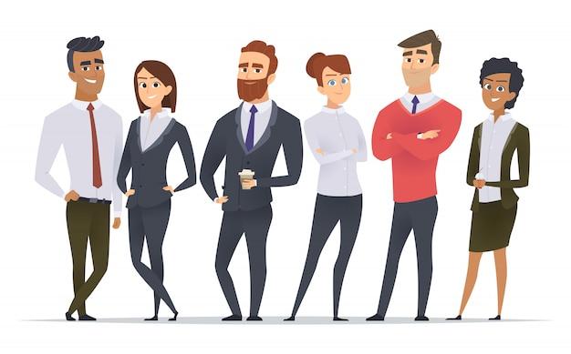 Equipo de negocios. trabajadores profesionales socios felices grupo trabajo en equipo oficina hombres y mujeres gerentes personajes de pie