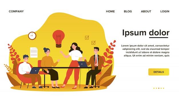 Equipo de negocios trabajando juntos, intercambiando ideas, discutiendo ideas para el proyecto. personas reunidas en el escritorio en la oficina. ilustración para coworking, trabajo en equipo, concepto de espacio de trabajo