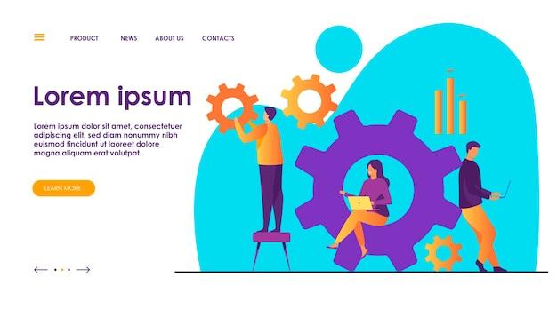 Equipo de negocios trabajando juntos en el mecanismo de rueda dentada.