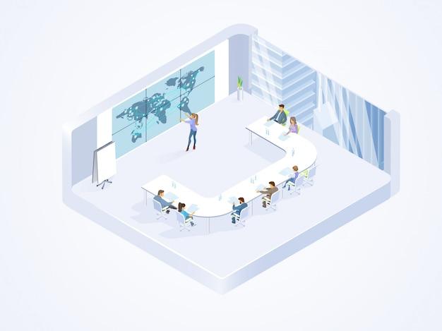 Equipo de negocios trabajando en vector isométrico de oficina