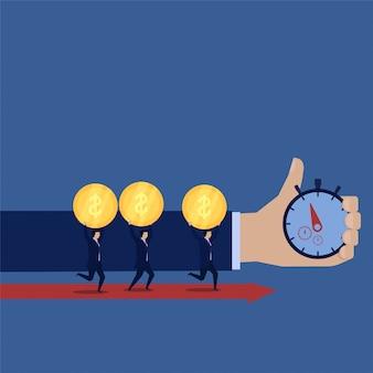 Equipo de negocios traer dinero correr con tiempo objetivo
