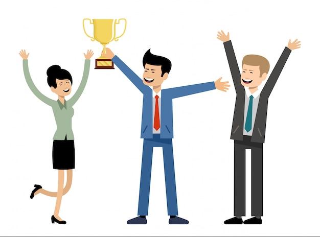 Equipo de negocios con trofeo de la copa de oro. éxito y victoria
