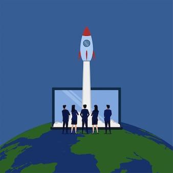 Equipo de negocios ver lanzamiento de cohetes metáfora puesta en marcha internacional.