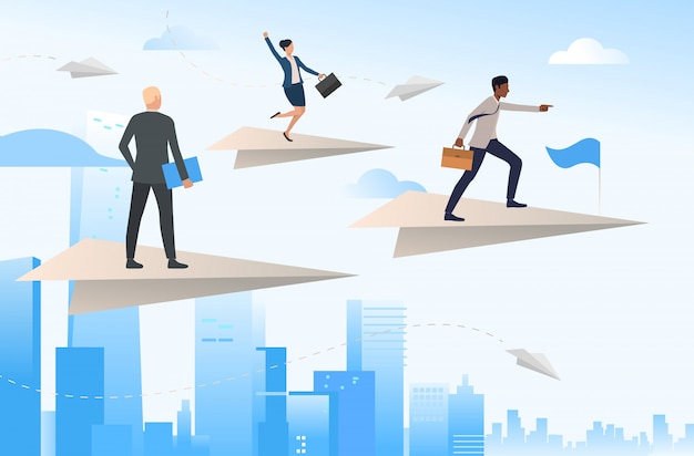 Equipo de negocios viajando en aviones de papel voladores