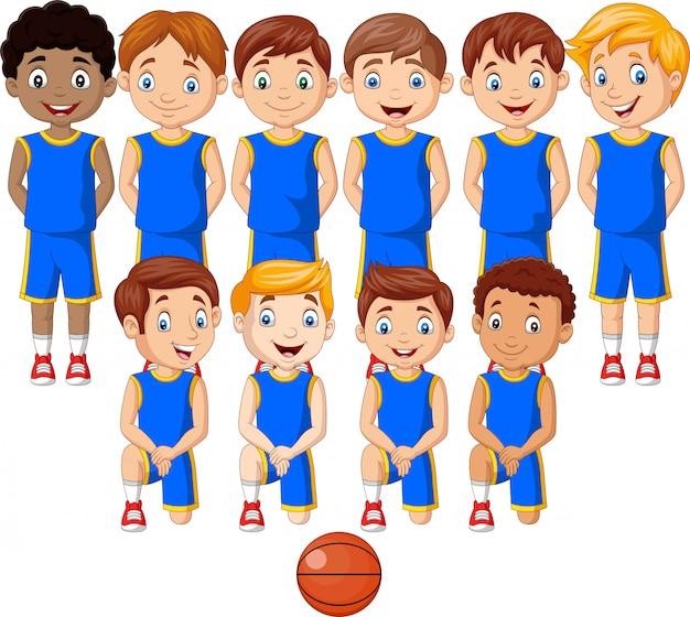 Equipo de niños de baloncesto de dibujos animados en uniforme