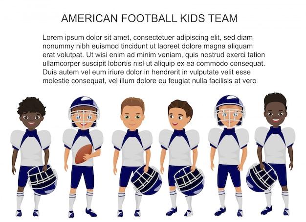 Equipo de niños fútbol americano escuela de dibujos animados en uniforme aislado.