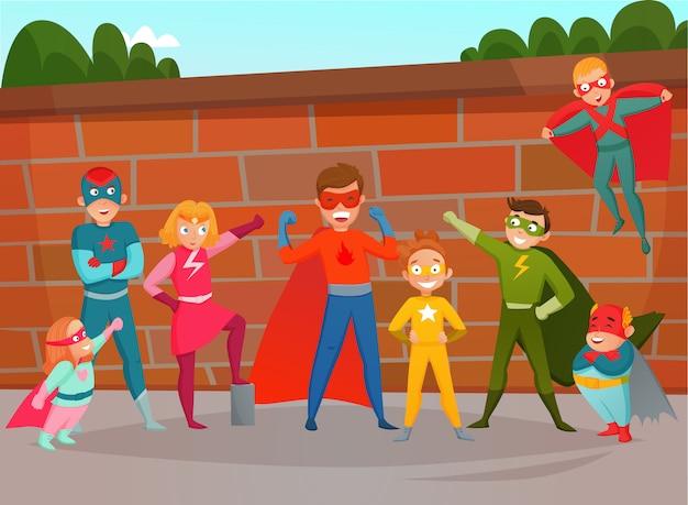 Equipo de niños superhéroes composición