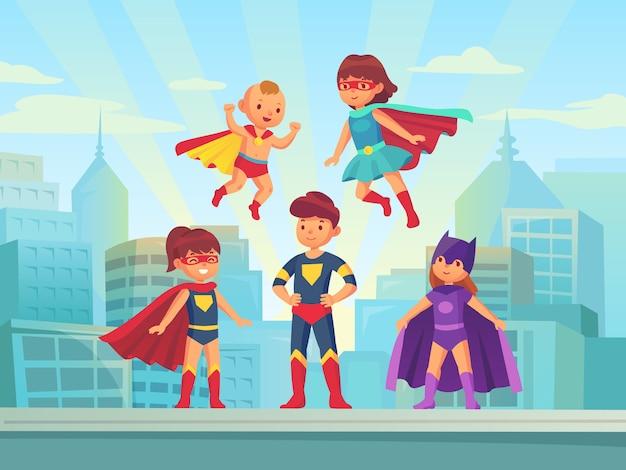Equipo de niños superhéroes