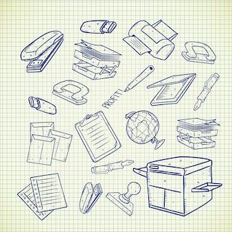 Equipo de oficina doodle conjunto