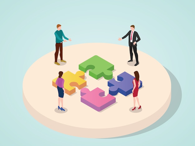 Equipo de oficina trabajando juntos concepto de elemento de rompecabezas de conexión de colaboración de negocios con estilo de dibujos animados plano moderno isométrico 3d