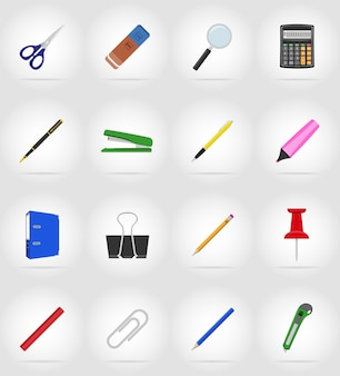 Equipo de papelería set iconos planos vector illustration