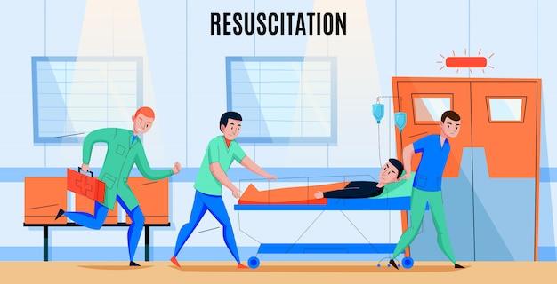 Equipo de paramédicos de ambulancia apresurando al paciente herido al área de reanimación del departamento de emergencias del hospital composición plana