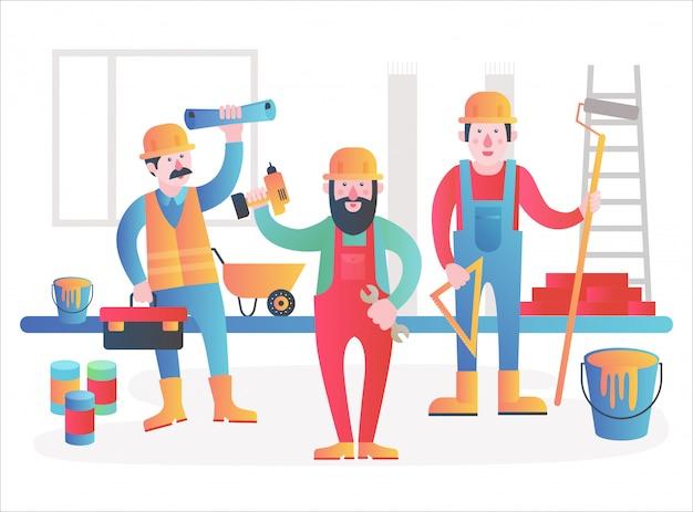 Equipo de personajes de trabajadores a domicilio. trabajadores amigables en ropa de trabajo uniforme de pie juntos. ilustración plana degradado moderno