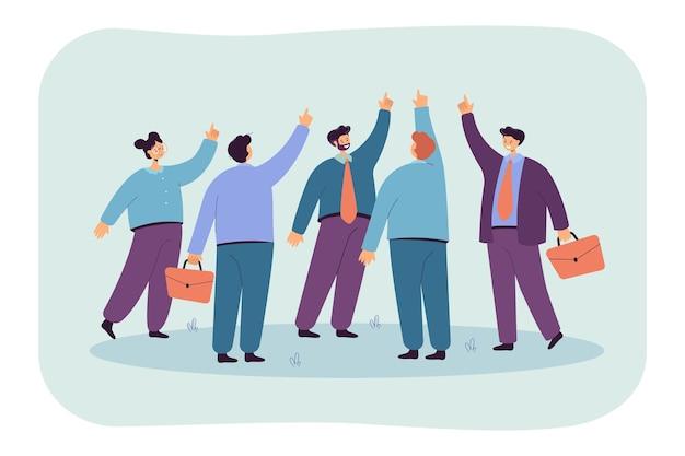 Equipo de personas apuntando con el dedo hacia arriba