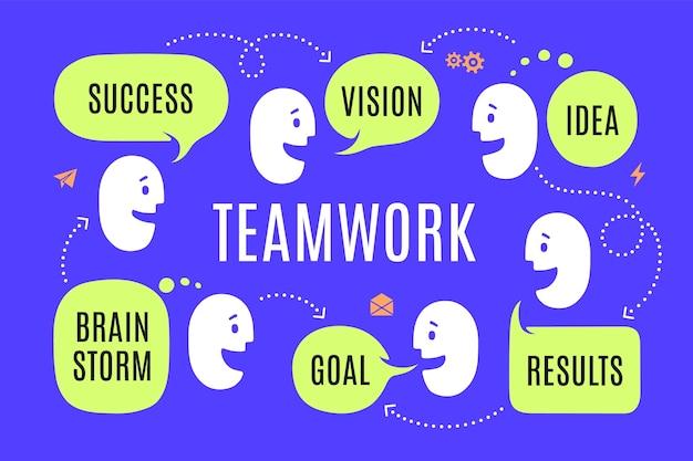 Equipo de personas con diferentes formas, bocadillo de diálogo o conversación en la nube con texto de conexión éxito