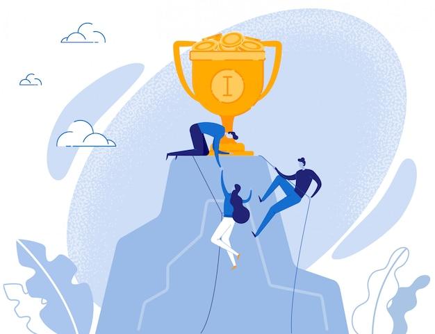 Equipo de personas escalando en roca con trofeo en la parte superior
