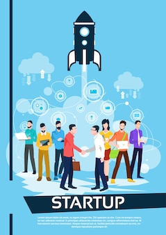 Equipo de personas de negocios los gerentes dan la mano al inicio exitoso