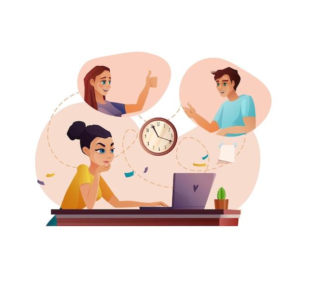 Equipo de personas que trabajan por videoconferencia o educación reunión en línea o educación