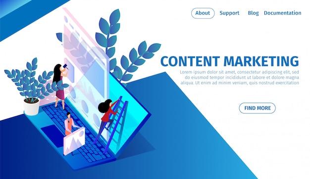 El equipo de personas trabaja en una gran computadora portátil, marketing de contenidos