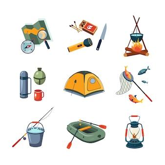 Equipo de pesca y camping en conjunto de diseño plano