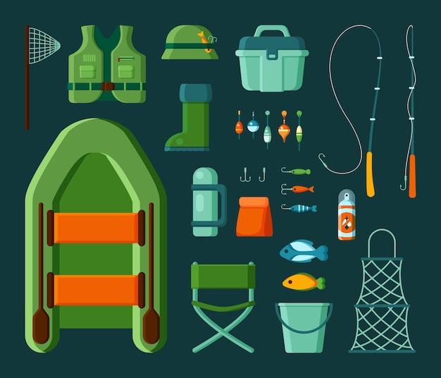 Equipo de pescadores. anzuelo giratorio cebo y barco para la pesca de temporada en el lago o el mar.