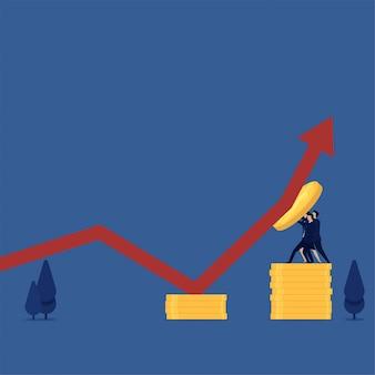 Equipo plano empresarial que se defiende de los gráficos para crecer, aumentando las ganancias.