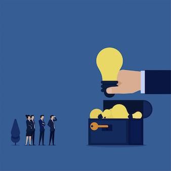 El equipo plano de negocios encuentra muchas ideas sobre la metáfora del cofre del tesoro de grandes ideas.