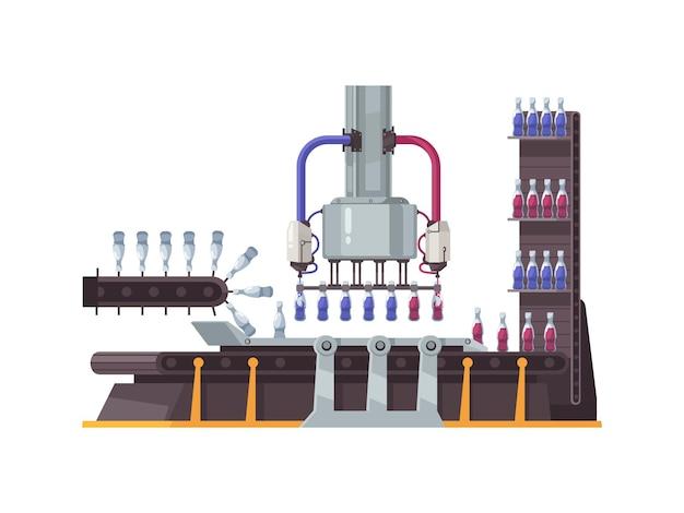 Equipo de planta robótica automatizada que llena las botellas planas