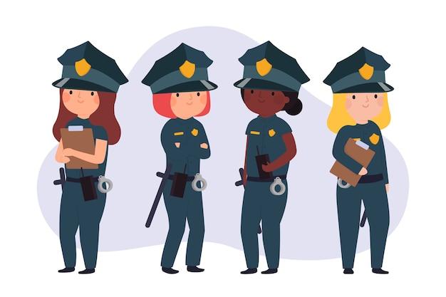 Equipo de policías en primera línea
